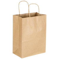 Trim 8 inch x 4 1/2 inch x 10 5/8 inch Natural Kraft Shopping Bag with Handles - 250/Bundle