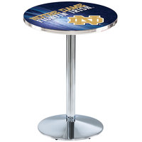 Holland Bar Stool L214C3628ND-ND-D2 28 inch Round Notre Dame University Pub Table with Chrome Round Base