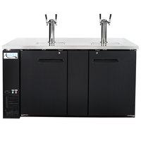 Avantco UDD-3-HC Black Kegerator / Beer Dispenser with 2 Double Tap Towers - (3) 1/2 Keg Capacity