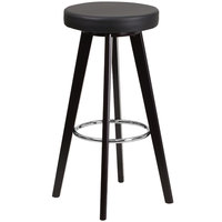 Flash Furniture CH-152601-BK-VY-GG Trenton Series Cappuccino Wood Bar Height Stool with Black Vinyl Seat