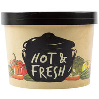 Choice 64 oz. Medley Double Poly-Coated Paper Soup / Hot Food Cup with Vented Paper Lid - 25/Pack