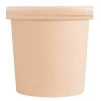 EcoChoice 16 oz. Kraft Compostable Paper Soup / Hot Food Cup with Vented Lid   - 25/Pack