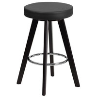 Flash Furniture CH-152600-BK-VY-GG Trenton Series Cappuccino Wood Counter Height Stool with Black Vinyl Seat