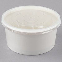 Choice 6 oz. White Double Poly-Coated Paper Food Cup with Vented Plastic Lid - 25/Pack
