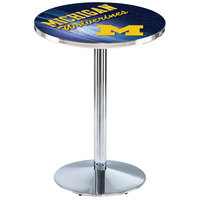 Holland Bar Stool L214C3628MichUn-D2 28 inch Round University of Michigan Pub Table with Chrome Round Base