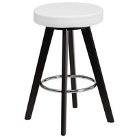 Flash Furniture CH-152600-WH-VY-GG Trenton Series Cappuccino Wood Counter Height Stool with White Vinyl Seat