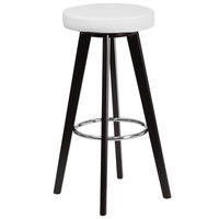 Flash Furniture CH-152601-WH-VY-GG Trenton Series Cappuccino Wood Bar Height Stool with White Vinyl Seat