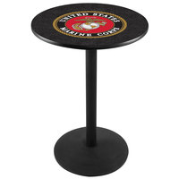 Holland Bar Stool L214B3628Marine 28 inch Round United States Marine Corps Pub Table with Black Round Base