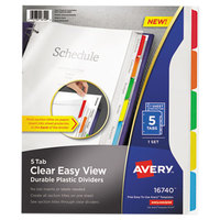 Avery 16740 5-Tab Clear Easy View Durable Plastic Dividers