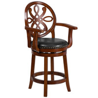 Flash Furniture TA-550226-BDY-GG Brandy Wood Counter Height Designer Back Stool with Black Leather Swivel Seat