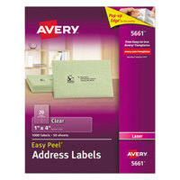 Avery 5661 1 inch x 4 inch Easy Peel Clear Mailing Address Labels - 1000/Box
