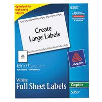 Avery 5353 8 1/2 inch x 11 inch White Copier Labels - 100/Box