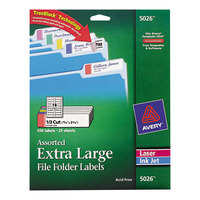 Avery 5026 15/16 inch x 3 7/16 inch Assorted Color X-Large Top Tab 1/3 Cut File Folder Labels - 450/Pack