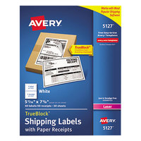 Avery 5127 5 1/16 inch x 7 5/8 inch White Shipping Labels with Paper Receipts - 50/Pack