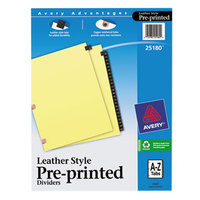 Avery 25180 Black Leather A-Z Tab Dividers with Copper Reinforced Edge