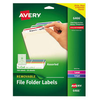 Avery 6466 2/3 inch x 3 7/16 inch Assorted Color 1/3 Cut Removable Filing Folder Label - 750/Pack