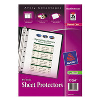 Avery 77004 8 1/2 inch x 5 1/2 inch Diamond Clear Heavyweight Top-Load Sheet Protector, Half Letter - 25/Pack