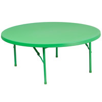 Flash Furniture RB-48R-KID-GN-GG 48 inch Round Kids Green Plastic Folding Table