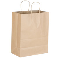 Senior 13 inch x 7 inch x 17 inch Natural Kraft Shopping Bag with Handles - 250/Bundle