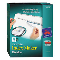 Avery 11557 Index Maker 8-Tab Divider Set with Clear Label Strips - 50/Box