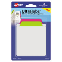 Avery 74770 Ultra Tabs 3 inch x 3 1/2 inch Assorted Neon Color Repositionable Tab - 12/Pack