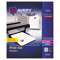 Avery 11515 Print-On 5-Tab White Divider Set - 5/Pack