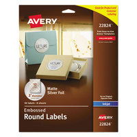 Avery 22824 Easy Peel 2 inch Silver Embossed Matte Round Foil Labels - 96/Pack