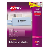 Avery 5662 1 1/3 inch x 4 inch Easy Peel Clear Mailing Address Labels - 700/Box