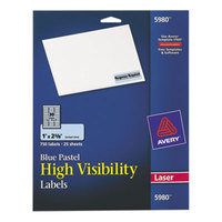 Avery 5980 1 inch x 2 5/8 inch Pastel Blue Permanent High-Visibility ID Labels - 750/Pack