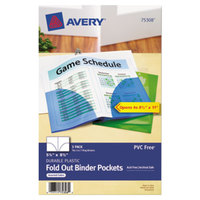 Avery 75308 5 1/2 inch x 8 1/2 inch Mini Assorted Binder Pocket - 3/Pack