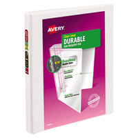 Avery 17002 White Durable View Binder with 1/2 inch Slant Rings