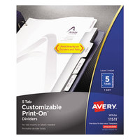 Avery 11511 Print-On 5-Tab White Dividers