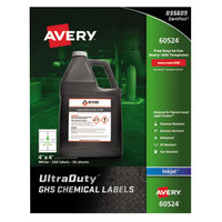 Avery 60524 UltraDuty 4 inch x 4 inch GHS Chemical Labels for Pigment-Based Inkjet Printers - 200/Pack