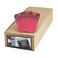 Avery 15161 4 3/4 inch x 2 3/8 inch Red and Black Paper Sold Tag - 500/Box