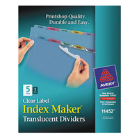 Avery 11452 Index Maker 5-Tab Multi-Color Plastic Divider Set with Clear Label Strip