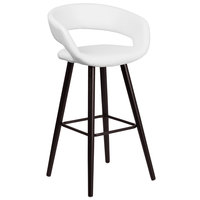 Flash Furniture CH-152560-WH-VY-GG Brynn Series Cappuccino Wood Bar Height Stool with White Vinyl Seat