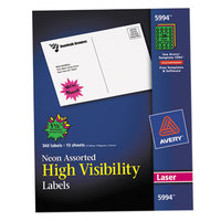 Avery 5994 1 1/2 inch Assorted Neon Color High-Visibility ID Label Bursts - 360/Pack