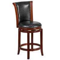 Flash Furniture TA-220126-DC-CTR-GG Dark Chestnut Wood Counter Height Panel Back Stool with Black Leather Swivel Seat