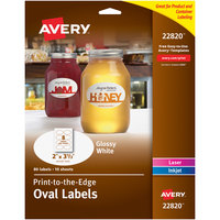 Avery 22820 Easy Peel 2 inch x 3 1/3 inch True Print White Glossy Oval Print-to-the-Edge Labels - 80/Pack