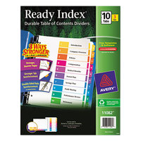 Avery 11082 EcoFriendly Ready Index 10-Tab Multi-Color Table of Contents Divider Set - 3/Pack