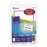 Avery 5151 2 1/3 inch x 3 3/8 inch Flexible Self-Adhesive Laser/Inkjet Badge Labels with Blue Border - 40/Pack
