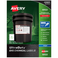 Avery 60522 UltraDuty 4 3/4 inch x 7 3/4 inch GHS Chemical Labels for Pigment-Based Inkjet Printers - 100/Pack