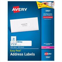 Avery 5961 1 inch x 4 inch Easy Peel White Mailing Address Labels - 5000/Box