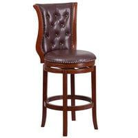 Flash Furniture TA-2301230-DC-GG Dark Chestnut Wood Bar Height Button Tufted Back Stool with Hepatic Leather Swivel Seat