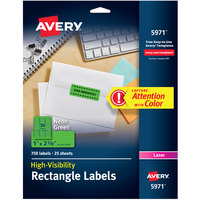 Avery 5971 1 inch x 2 5/8 inch High-Visibility Neon Green ID Labels - 750/Pack