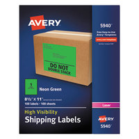 Avery 5940 8 1/2 inch x 11 inch Neon Green Shipping Labels - 100/Box