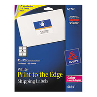 Avery 6874 3 inch x 3 3/4 inch White Print-to-the-Edge Shipping Labels   - 150/Pack