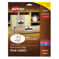 Avery 22829 2 inch x 3 1/3 inch White Matte Textured Print-to-the-Edge Easy Peel Oval Labels - 80/Pack