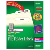 Avery 75366 TrueBlock 2/3 inch 3 7 /16 inch White Permanent File Folder Label - 1800/Box