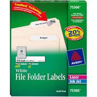 Avery 75366 TrueBlock 2/3 inch 3 7 /16 inch White Permanent File Folder Label - 1800/Box